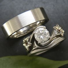 Custom platinum wedding set: His, hers, and her shadow band