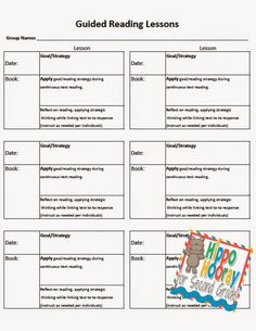 Guided Reading Lesson Planning and Note Taking