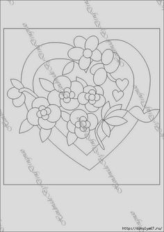 Varrogató: applikáció Cute Embroidery Patterns, Embroidery Hearts, Embroidery Applique, Valentines Design, Vintage Valentines, Applique Templates, Applique Designs, History Of Quilting, Stained Glass Quilt