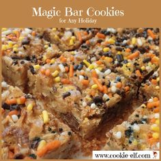 Halloween Magic Bar Cookies: ingredients, directions, and special tips from The Elf to this easy bar cookie recipe for any season. Here are some Halloween cookie ideas with Magic Cookie Bars. Easy No Bake Cookies, Candy Cookies, Cake Mix Cookies, Chip Cookies, Baking Cookies, Halloween Magic, Halloween Baking, Halloween Cookies, Halloween Party