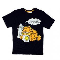 T-shirt męski Garfield  kolor czarny rozmiary L, XL, XXL