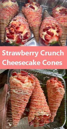 Strawberry Crunch Cheesecake Cones Fun Baking Recipes, Sweet Recipes, Cooking Recipes, Strawberry Recipes, Strawberry Yum Yum Recipe, Candied Strawberries Recipe, Strawberry Cream Cheese Dessert, Strawberry Crunch Cake, Strawberry Shortcake Ice Cream
