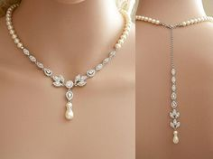 Bridal Backdrop Necklace Cubic Zirconia and Pearl by poetryjewelry