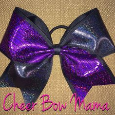 Purple & Black Holographic Cheer Bow by CheerBowMama on Etsy https://www.etsy.com/listing/236024314/purple-black-holographic-cheer-bow