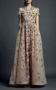 Perfect for a spring wedding//Valentino Floral Embroidered Short Sleeve Evening Gown