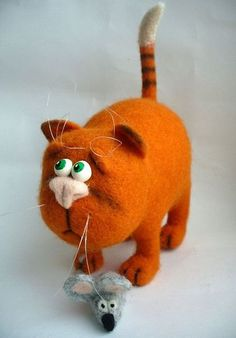 Needle Felted Toy  Orange cat Soft Sculpture OOAK by TashaToys, $62.00
