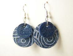 Articles similar to Fabric Jewelry, Blue Disc Earrings, Necklace Earring Set, Blue Circle Jewelry, M Diy Denim Earrings, Fabric Earrings, Paper Earrings, Paper Jewelry, Fabric Jewelry, Leather Earrings, Jewelry Crafts, Handmade Jewelry, Jewelry Bracelets