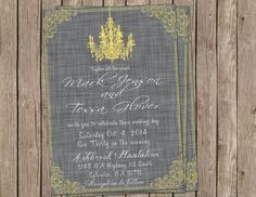 Wedding Invitation, chandelier, yellow & gray, Digital file, Printable on Etsy, $13.00