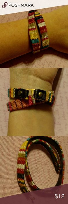 Fabric woven  double wrap bracelet Double wrapped bracelet multi colored Jewelry Bracelets