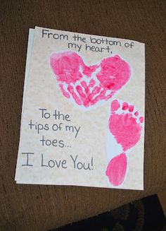 This would be cute for the boys to make for their parents! THANK YOU CARDS! If only annie would let me do this with her hands and feet!