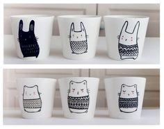 Nouveauté dans la boutique Sobigraphie:  Tasse hamster et tasse lapin ♥