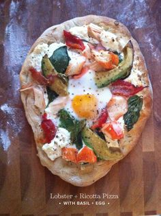 Seriously?  Yes.  Lobster + Ricotta Pizza with Basil + Egg
