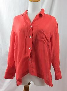 Chico's Design Womens Top Shirt Bright Melon Orange Silk Linen Sz 1 8 10 Medium | eBay