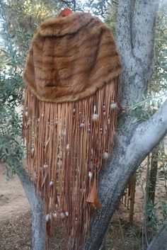 showdiva designs Dramatic Mink Cape with Floor Length Beaded Fringe N Feathers Rock STAR Chic