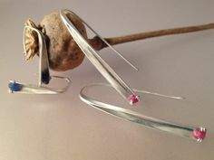 anticlastic straight earrings by Pattie Parkhurst - Silver, rubies, sapphires