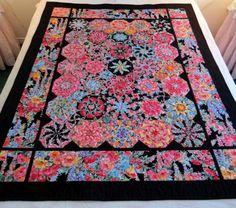 Kaleidoscope Lap Quilt, One Block Wonder Octagons, Bright Flowers on Black