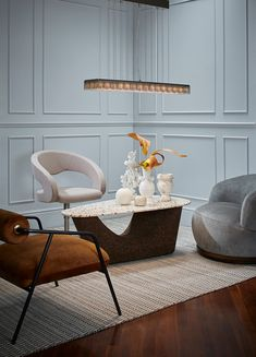 Our new addition to the willowlamp family pays homage to the formality and purity of modern lines. See more about the Lineal via . Luxury Interior, Modern Interior Design, Side Coffee Table, Luxury Living, Architecture, Decoration, Interior Decorating, Bedroom Decor, Grey Chair