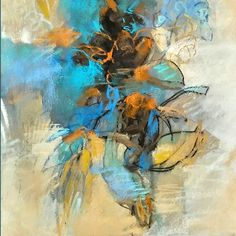 Blue Salvia pastel 12x12 pastel on paper by Debora L. Stewart
