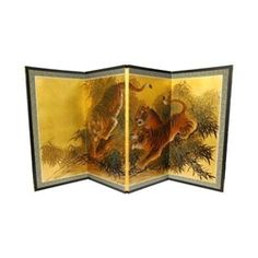 3ft Tall Gold Leaf Tigers on the Move Asian Folding Screen