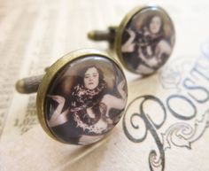 Steampunk Cufflinks Victorian Circus Snake Lady by DubiousDesign. £9.99 GBP, via Etsy.