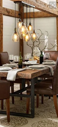 Exceptionnel Rustic Lighting And Dining Table/chairs