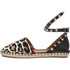 Valentino Cavallino Double Rockstud Leopard Espadrilles ($680) ❤ liked on Polyvore featuring shoes, sandals, flats, sapatos, valentino flats, white flats, black sandals, metallic sandals and leopard sandals