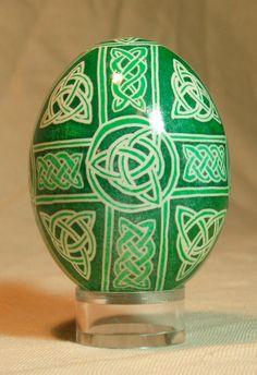 Celtic Cross trinity knotwork themed pysanka, pysanky for Easter, Christmas and beyond