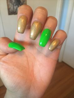 Lime green and gold chrome nails