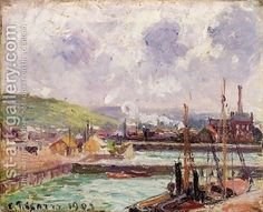 Camille Pissarro: View of Dunquesne and Berrigny Basins in Dieppe - reproduction oil painting
