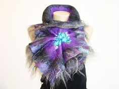 Chunky Scarf Felted Wool Scarf Fashion Accessories Wrap scarf Purple & ART Grey Scarf  Shibori scarf Alpaca and silk Women Accessories