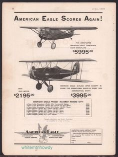 1930 AMERICAN EAGLE Monoplane Open Cockpit Biplane Aircraft Vintage Aviation AD