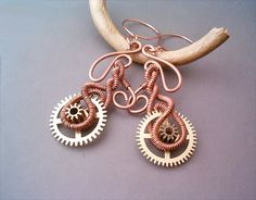 Steampunk Earrings Wire Wrapped Copper and Cogs by GearsFactory, €23.00