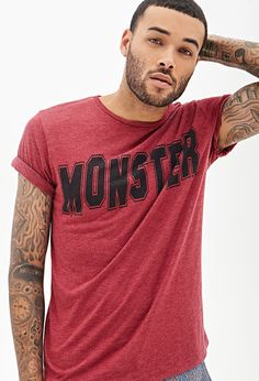 Heathered Monster Graphic Tee #21Men| When you've got to dress it dwn plain & simple does it