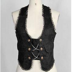 Black Double Breasted Gothic Scene Vest Waistcoat Clothing Shop Women SKU-11401243