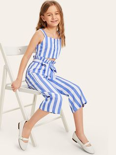 To find out about the Girls Button Front Striped Thick Strap Top & Belted Pants Set at SHEIN, part of our latest Girls Two-piece Outfits ready to shop online today! Dresses Kids Girl, Kids Outfits Girls, Cute Girl Outfits, Cute Dresses, Girls Pants, Girls Fashion Clothes, Kids Fashion, Fashion Outfits, Birthday Outfit