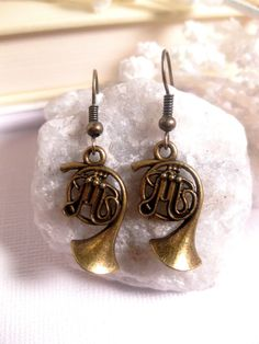 French Horn Music Earrings  Musical by FashionCrashJewelry on Etsy
