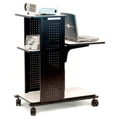 The Luxor Mobile Laptop Computer Presentation Cart makes up in strength what it lacks in frills. Gray laminate work surfaces and casters (two. Aspen, Computer Presentation, Computer Cart, Rolling Utility Cart, Grey Laminate, Lcd Projector, Work Surface, Luxor, Cabinet