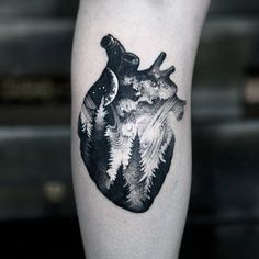 Realistic Anatomical Heart Tattoo Designs for Men With Meanings Forest Tattoos, Nature Tattoos, Body Art Tattoos, Sleeve Tattoos, Heart Tattoos Meaning, Heart Tattoo Designs, Tattoo Designs And Meanings, Compass Tattoo, See Tattoo