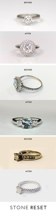"""Our halo resetter shared his story, """"When I proposed, I had a very simple setting and I promised my wife she could pick out whatever setting she wanted. Fast forward 10 years later, we never got around to upgrading her setting, and coincidentally her stone had started to come loose. She really wanted a halo design but wanted to keep the diamond as it had so much meaning. With Stone Reset, I was able to do both and the finished design was better than I could have imagined."""""""