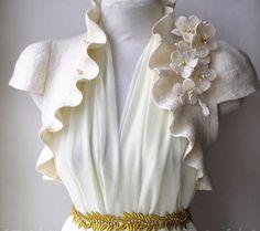 Sweet wedding dress jacket with flowers