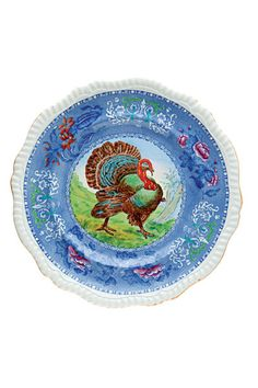 Copeland Spode / lovely polychrome turkey plate