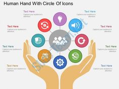 sr human hand with circle of icons flat powerpoint design Slide01