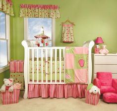 Juicie Fruit Crib Bedding - Strawberries and Watermelon Baby Bedding