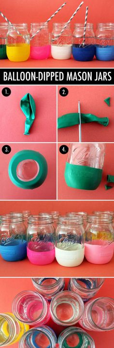 """DIY balloon mason jars - - - Fold your balloon in half, the long lengthwise and snip about a quarter inch off the top. Cut off the skinny """"stem"""" of the balloons. Pull over the bottom of your jar and up the sides. Pot Mason Diy, Mason Jar Crafts, Cute Crafts, Diy And Crafts, Party Crafts, Diy Balloon, Balloon Crafts, Balloon Ideas, Do It Yourself Inspiration"""