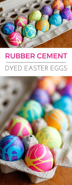 Coloring Easter Eggs w/ Rubber Cement -- this rubber cement Easter eggs technique produces some spectacularly high contrast, gorgeous abstract designs! Works great on hard-boiled eggs or use it on blown-out eggs to preserve them for years to come...   via @unsophisticook on unsophisticook.com