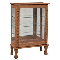 Amish Formal Sliding Door Curio Cabinet Easily retrieve and place items in this elegant formal curio cabinet with sliding door. Handcrafted wood furniture made in Amish country. #curiocabinets
