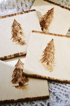 """""""Sketched"""" pyrography is easy, even for a novice! DIY your own card suits coaster set"""
