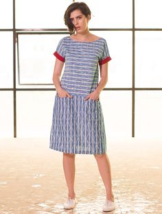 Buy Indigo-Red Button Down Yoke Ikat Handloom Cotton Dress Online