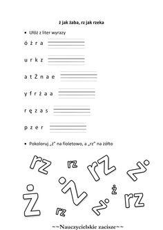 ż jak żaba, rz jak rzeka - karta pracy Learn Polish, Polish Language, Education, Math, Learning, Schools, Google, Speech Language Therapy, Polish