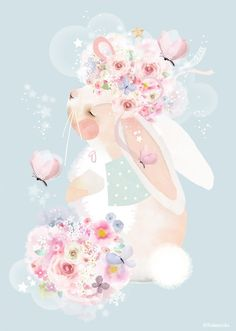 Oopsy Daisy A sweet bunny sits peacefully with a pretty flower crown in this canvas wall art by Schmooks. Art Wall Kids, Canvas Wall Art, Tree Wallpaper Bedroom, Image Deco, Illustration Noel, Large Artwork, Sunset Art, Flower Crown, Canvas Art
